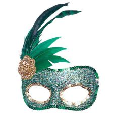 Side Feather Green Mask